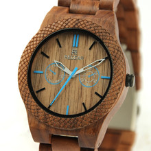 2017 fashion Nature green and black face waterproof wood watch