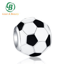Wholesale engravable charms 925 silver bead enamel football charms