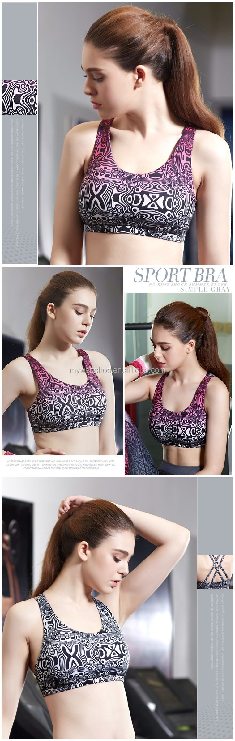 Women Sports Bra For Running Gym Padded Wirefree Shakeproof Underwear Push Up Fitness Top Bras For Woman Summer Style