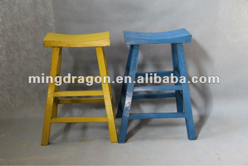 Antique colorful wooden outdoor furniture Bar Stool