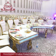 Half moon stainless steel and MDF modern banquet hall chairs and tables