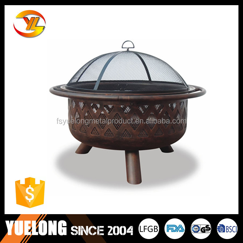 32' Round Firepit.popular Fire bowl.Manufacturer Lattice firepit with cover, charcoal firepit. outdoor fire pit.garden fire pit
