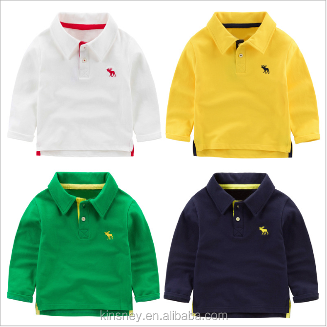 KS10380B Embroidered design simple cotton kids boys long sleeve polo shirt wholesale