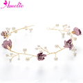 Enchanted Floral Hair Vines Pearl Purple Flower Headbands Bridal Headwear Girls Hair Accessories Child Headpiece Wedding Vine