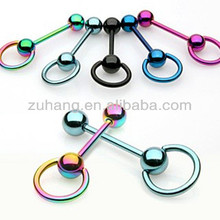 Tongue Piercing Barbell Jewelry Anodized Titanium Tongue Bar with Captive Bead Ring