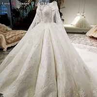 LS07949 real picture fixed detachable long cape scoop neck lace up back off white color big 2018 new popular wedding dress