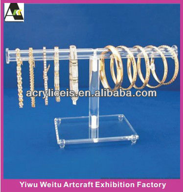 Weitu customized cheap necklace bangle acrylic T-bar jewellery display stand