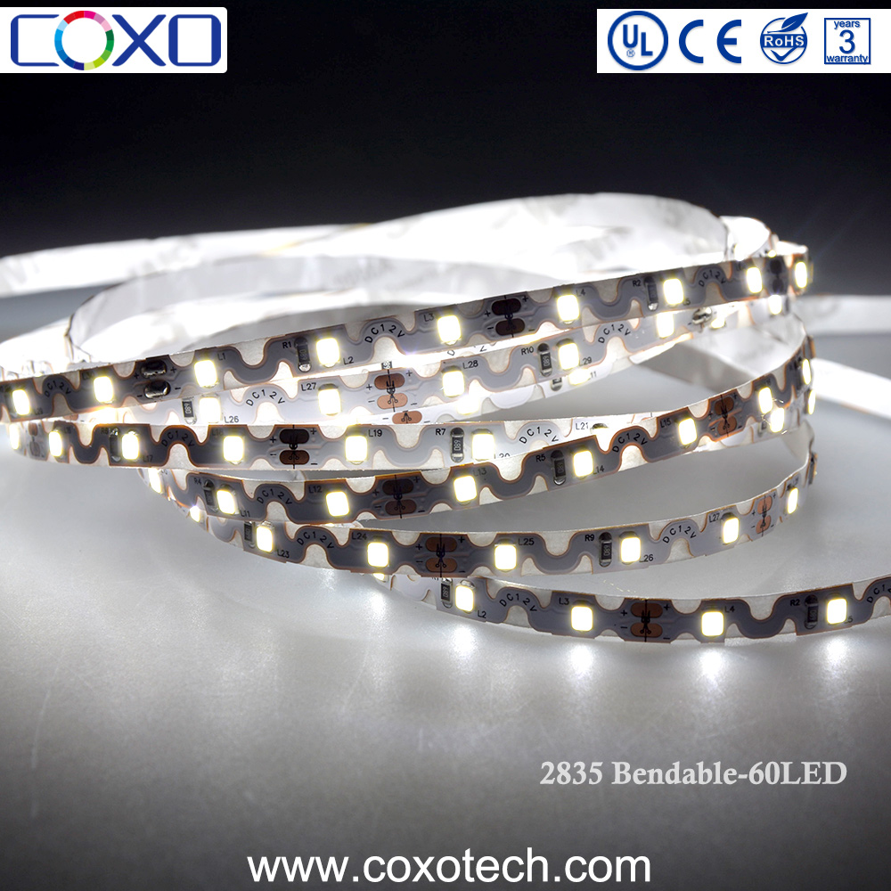 New Style SMD 2835 IP20 S Shape 360 Degree Bendable White Flexible LED Strip Light