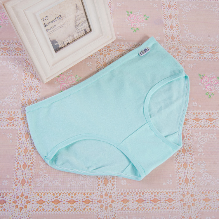 China Manufacturer New Model Seamless Solid Color Young Girl Cotton Lady Underwear A0013