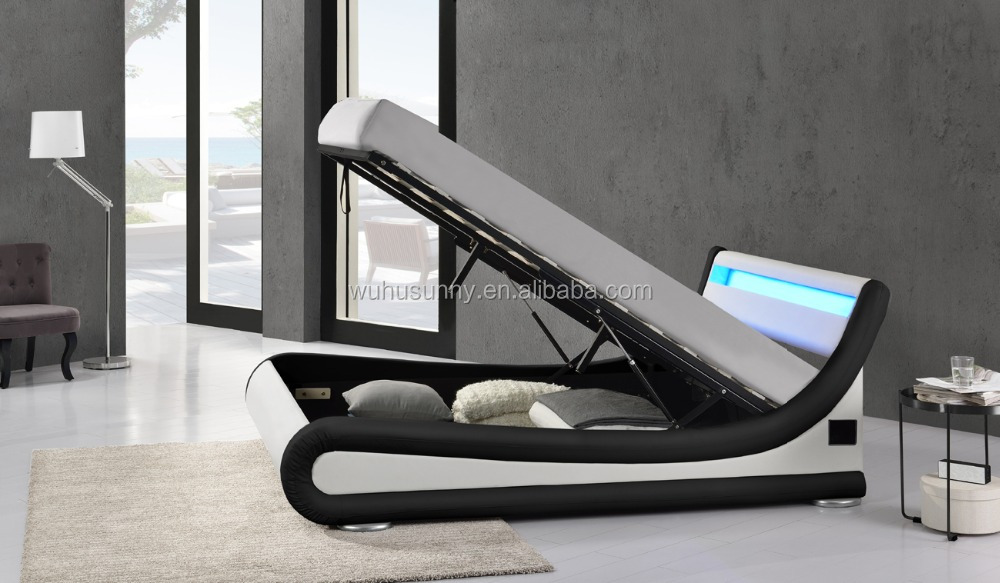 White leather LED music bed with storage