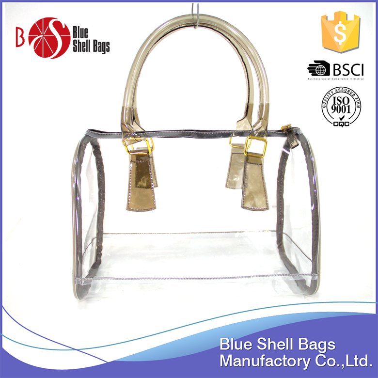 designer clear plastic coated tote shopping bags