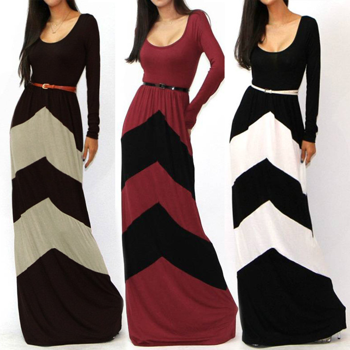Walson girl outlet Import long dresses from Celeb Long Sleeve Slim Maxi Dress With Belt Be ins factory instyl instyles