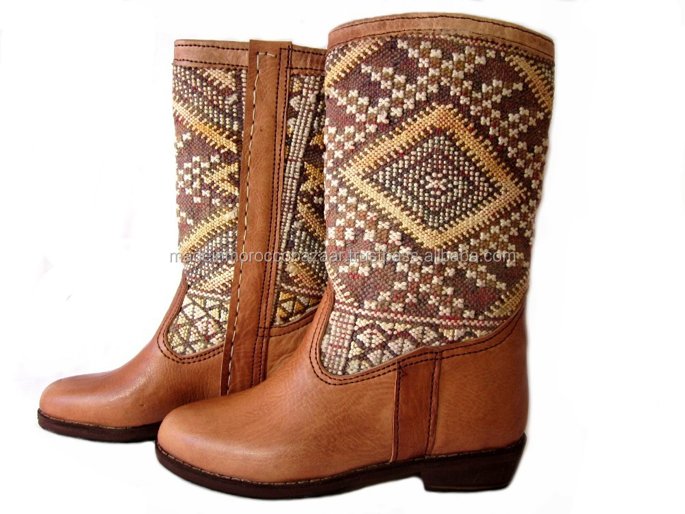 Fascinating Handcrafted Moroccan Genuine Leather Kilim Women Casual Boots