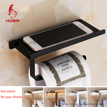 Toilet spare black roll holder with phone shelf