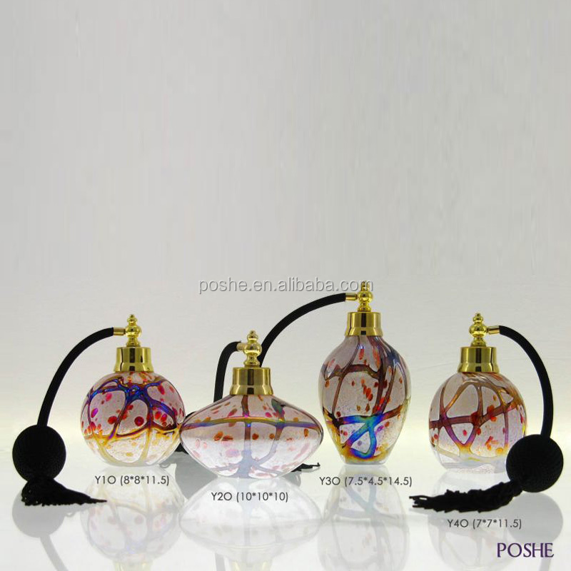 2016 Wholesale factory price handmade perfume wine bottle art blown glass with flower