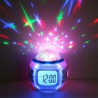 ZOGIFT Music Starry Star Sky Projection Alarm Clock with Calendar Thermometer