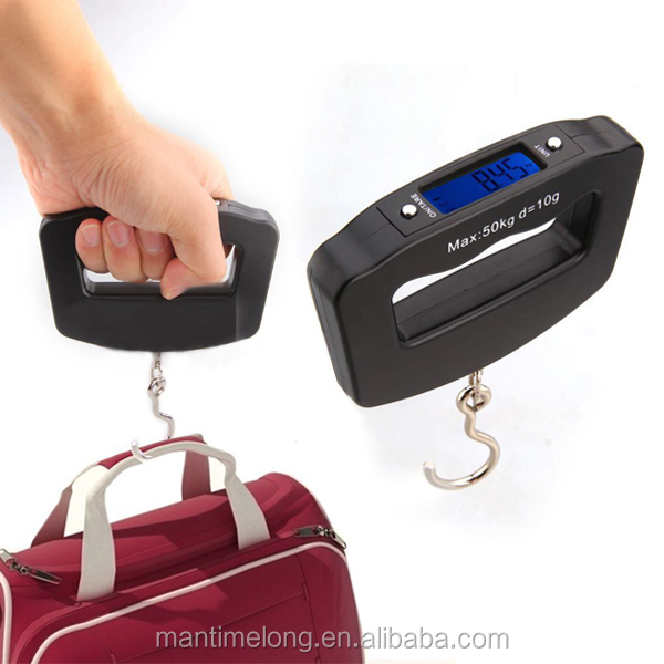 LED Digital 50Kg/10g Fish Hook Hanging luggage weighing scale electronic luggage scale portable digital luggage scale