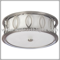 UL CUL Listed Brushed Nickel Round Ceiling Lamp For Hotel With White Glass Shade C50319
