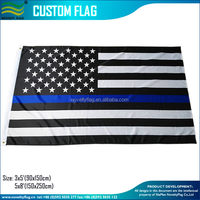 3x5 black and white American flag with the thin blue line