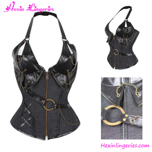 Paypal Accept Halter Overbust Steel Boned Women Leather Sexy Mature Corset