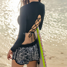 2016 high necked long sleeve sunscreen split bikini swimsuit three piece mesh swimsuit crop top and panty swimwear Bathing Suit