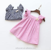 2016 children girls summer checkered dress cotton material