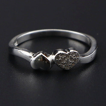 Trendy silver ring 925 sterling love heart ring heart shaped ring designs for girls