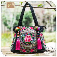 New products 2016 shopping bag with cute wool ball bell and tassels