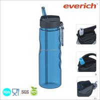 750ml bpa free clear plastic sport water bottle with carabineer