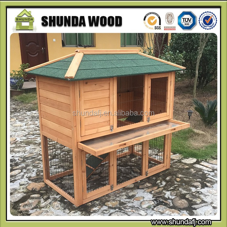 SDR028 wholesale outdoor double decker wooden rabbit house