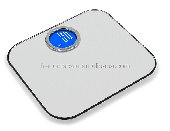 Unique Bathroom Digital Body Scale With Round Blue Backlight LCD