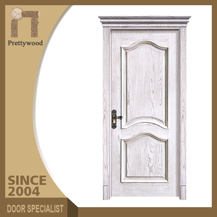 Foshan Prettywood Moderm Design Carving Inter White Plain Solid Wood Doors