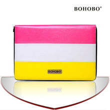 Alibaba supplier Contrast color mosaic pu leather Tablet case for Macbook