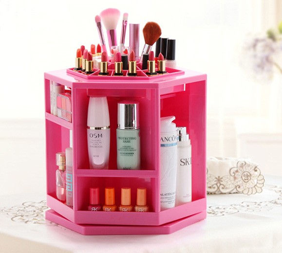 Rotating acrylic lipstick display stand rack tabletop spinning cosmetic organizer