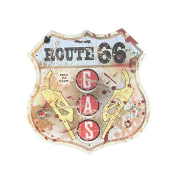Retro route 66 embossed wall decor tin sign