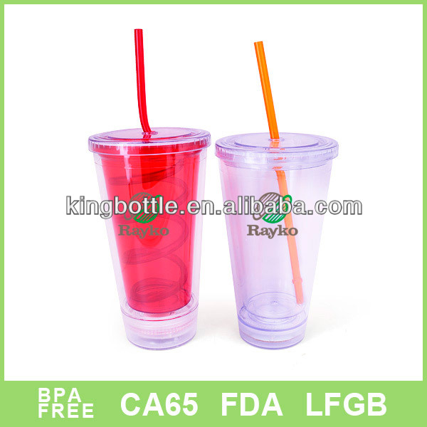 Promotional LED design plastic sports bottle with straw