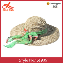 S1939 new trend ladies wide brim floppy beach hats braid raffia straw hats with coloured ribbon wholesale