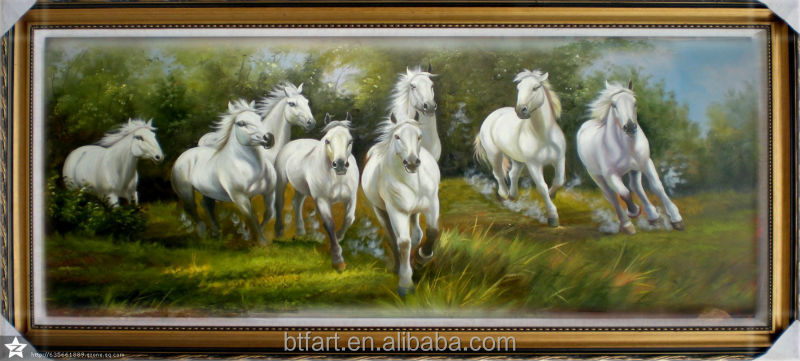 handmade 8 horses painting With Frames Stretched Canvas Painting