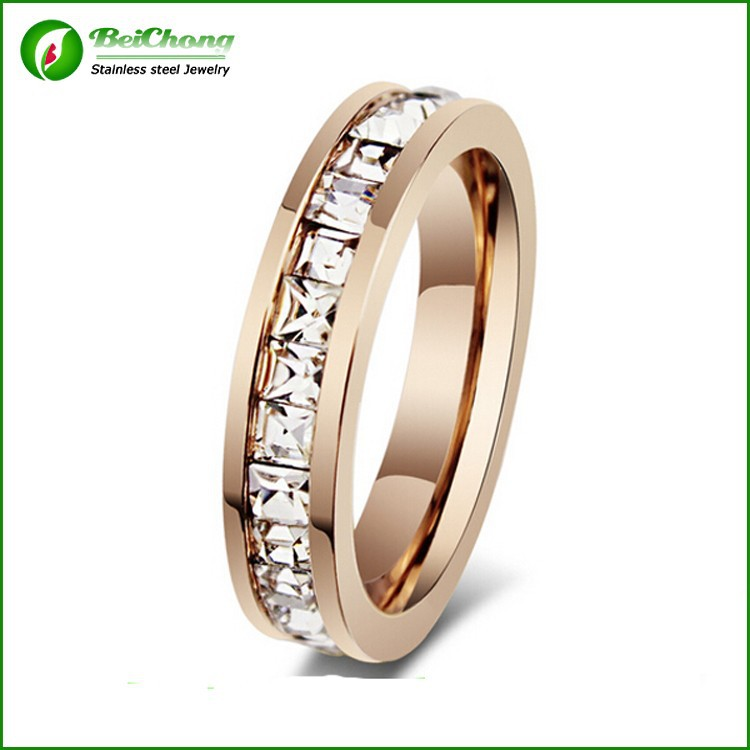 Wedding ring diamond rose gold ring 316l stainless steel jewelry jewelry import jewelry from china