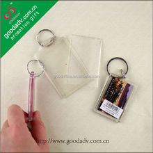 Factory custom make acrylic keychains clear plastic insert photo key holder