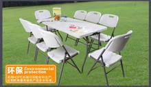 6ft plastic outdoor banquet dining tables and chairs set