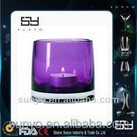2015 Hot Sale Colored Glass Candle Cup Votive Candle Glass Holder