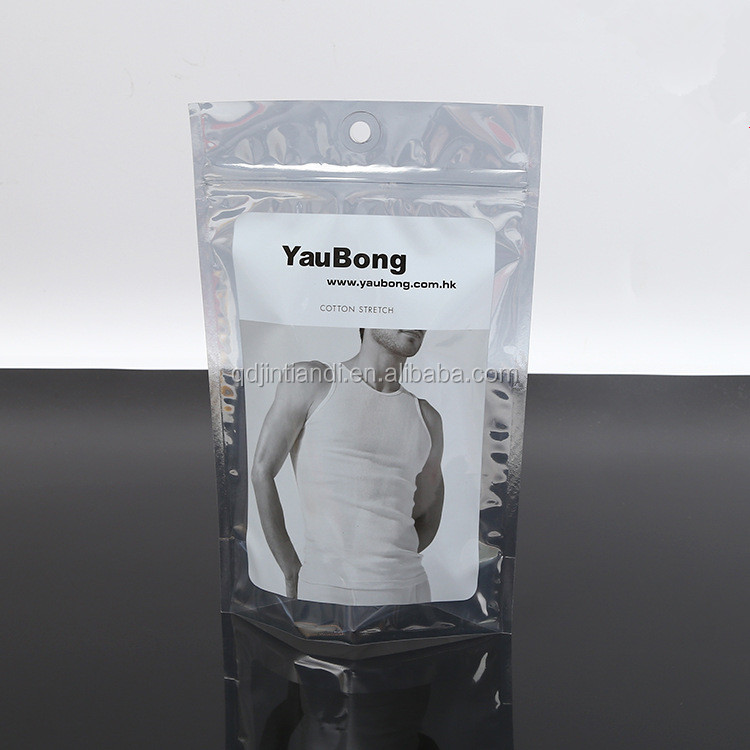 wholesale self adhesive men's underwear plastic packaging bag with hanging hole