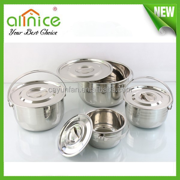 India stainless cooking pot /camping cookware /stainless steel containers cooking /food carrier