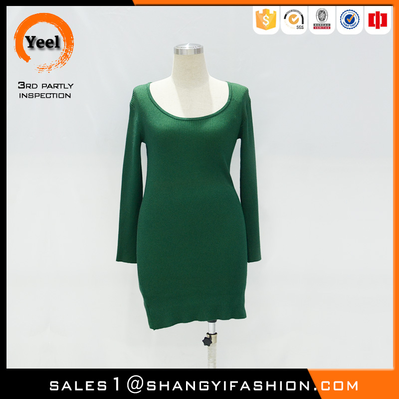YEEL fashion clothing popular fashion breathe freely drop stitch green women fashion without any dress