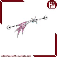 HT 316L Stainless Steel Industrial Barbell with Pink Trail and Clear Shooting Star Earring Body Piercing Jewelry