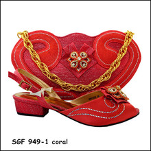 Hot Sale coral color shoe and matching bag set with stones Nigerian lady shoe and bag to match