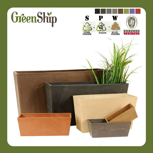 Decorative Garden Wood Planter/ 20 years lifetime/UV protective/lightweight/ waterproof