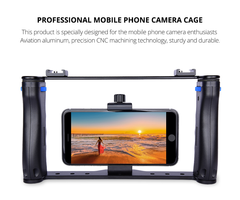 YELANGU PC01 Smartphone Video Rig Kit Phone Cage with Hot Shoe Double Handle