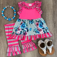 Wholesale 2-14Years Girls Summer Boutique Outfits Floral Pattern kids Cotton Ruffle Clothing Capris Sets